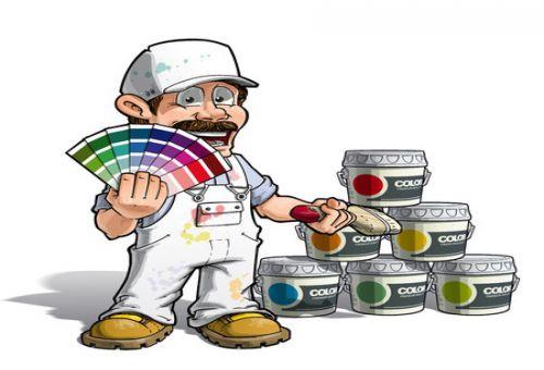 Иллюстрация - строитель с пантоном и краской