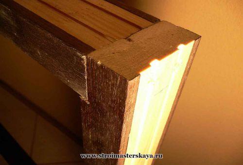 Соединение поперечины дверной коробки со стойками (фото)