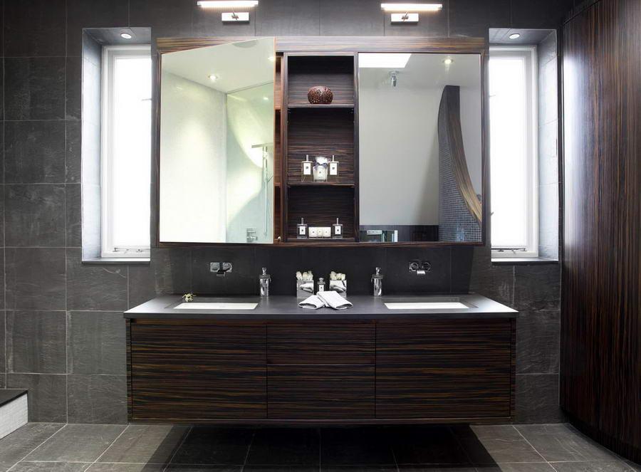 Шкафы в интерьере ванной комнаты