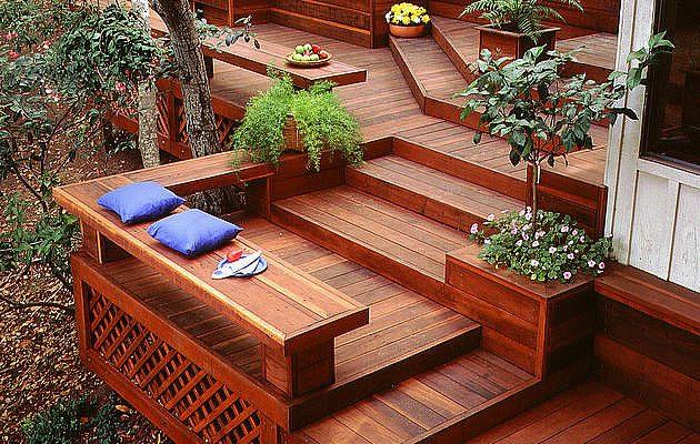 Multi Level Redwood Deck 630x640
