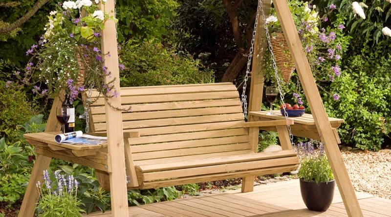 charming simple wooden garden swing